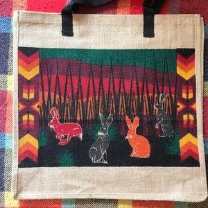🐰Large Jute Tote Bag with Rabbit Design